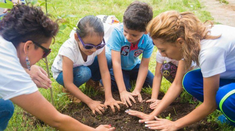 Niños sembrando un árbol