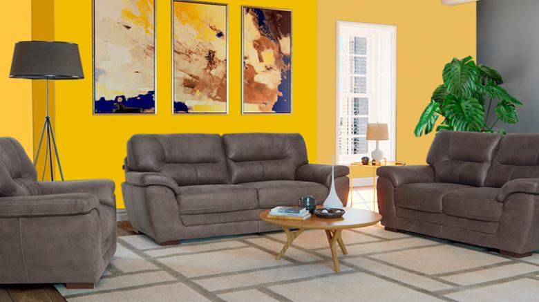 habitación amarilla con tonos grises
