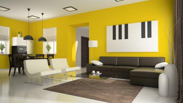 sala comedor amarillo con tonos blancos y negros